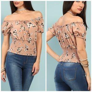 PAPAYA Pink Floral Print Off Shoulder Top